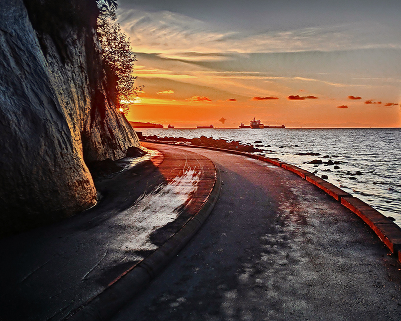 Дамба Стэнли Парк,закат в Ванкувере,закат Канада
