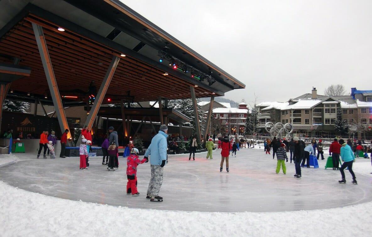 Уистлер, коньки, каток, Ванкувер курорт, Британская Колумбия зимой