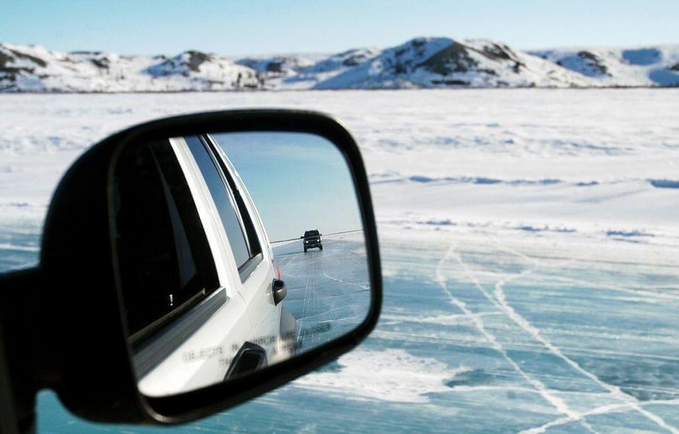 дорога, зеркало машины, вид заднего вида