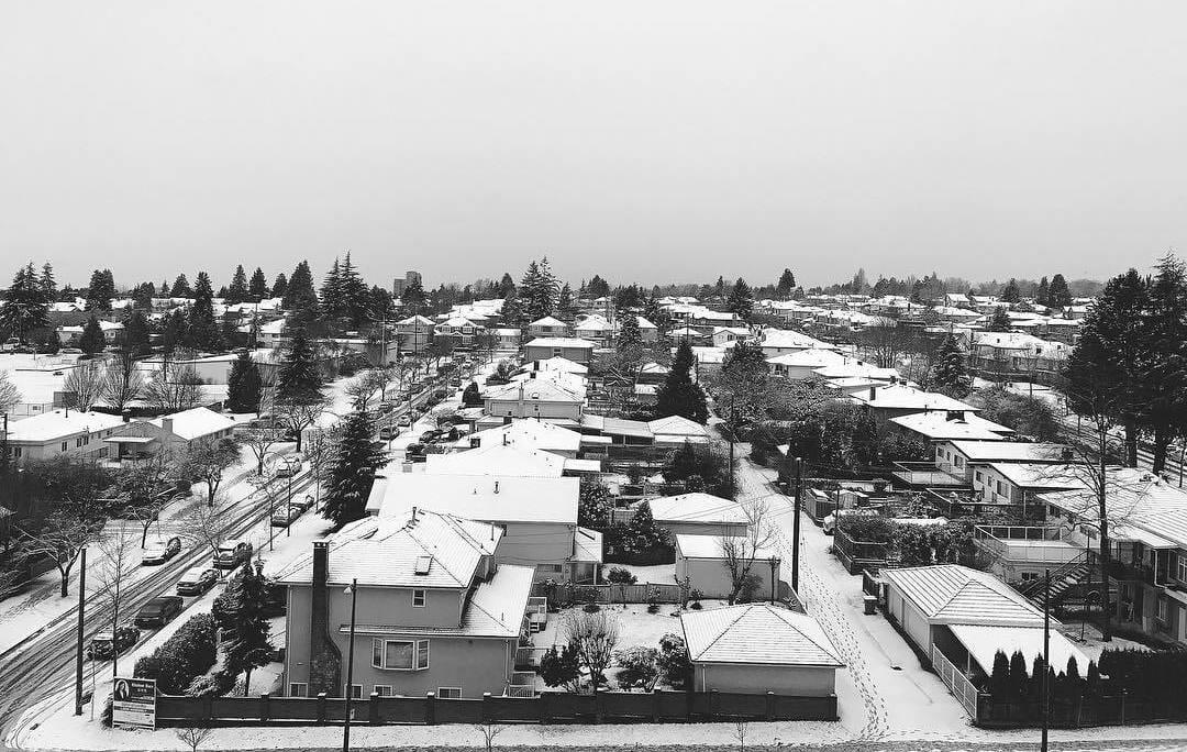 вид из окна Ванкувер, снег Ванкувер