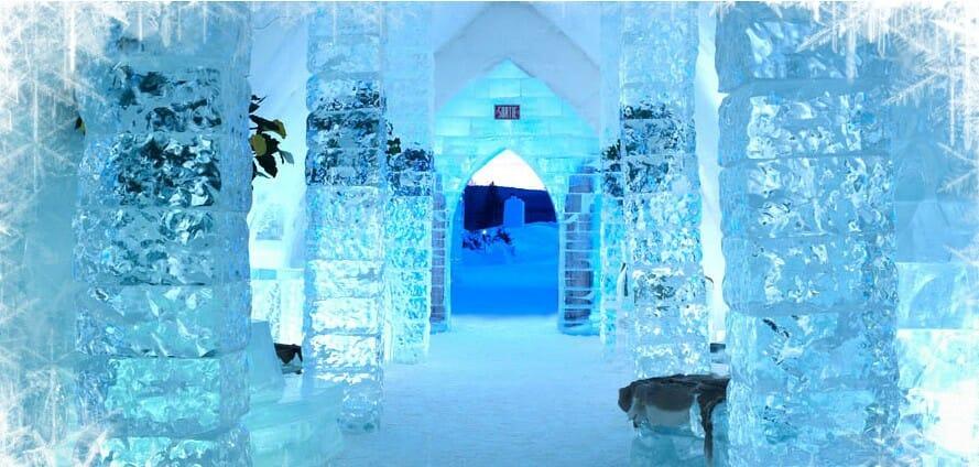 ледяной отель, дом из льда, кровать из льда