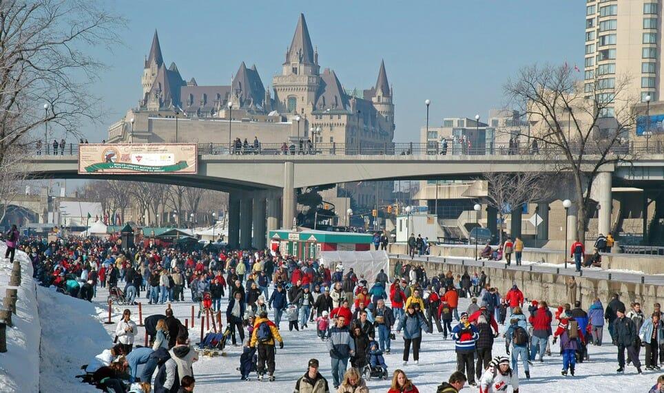 каток Ридо,самый длинный каток в мире, оттава Канада