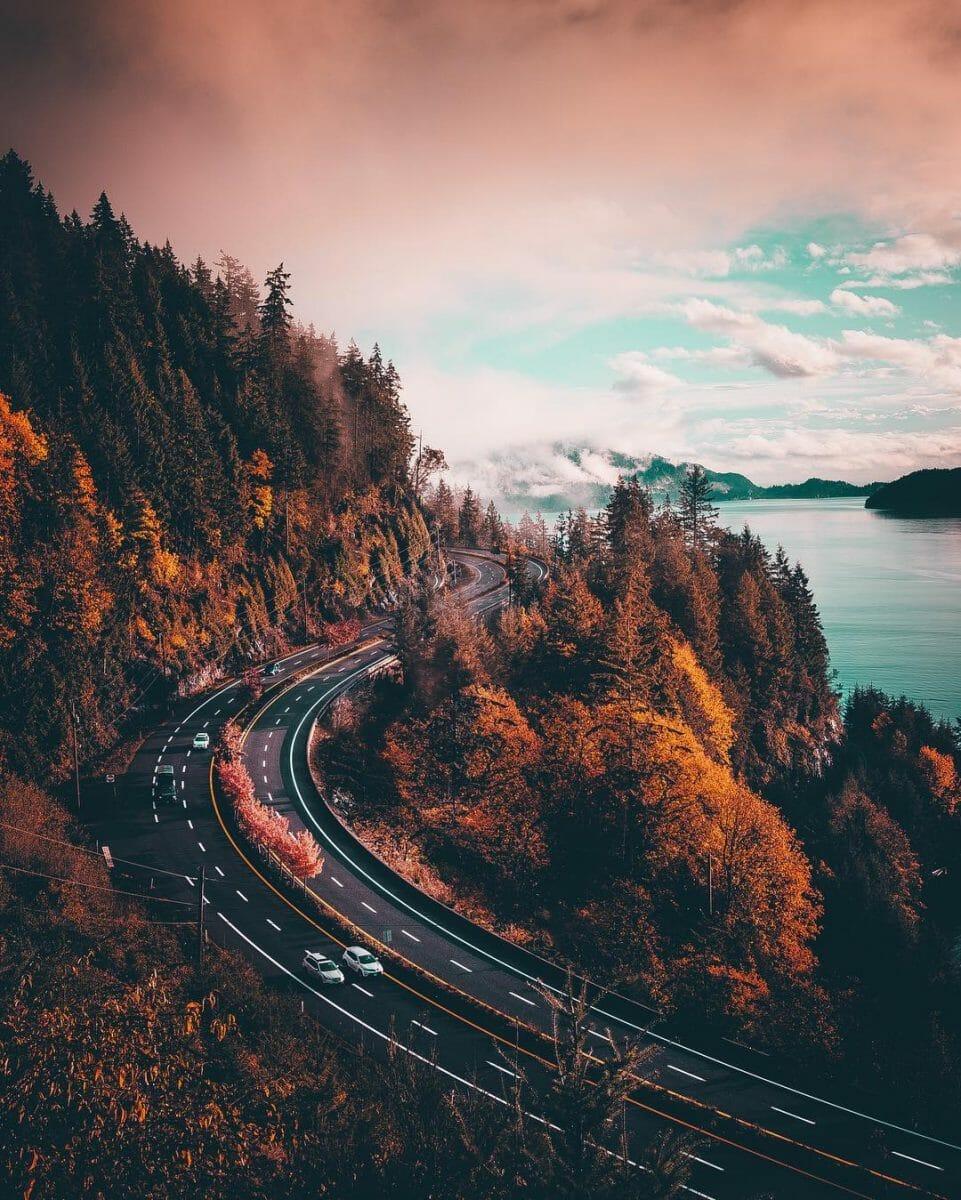 красивая фотография, осень в Канаде, дорога осенью, супер фото