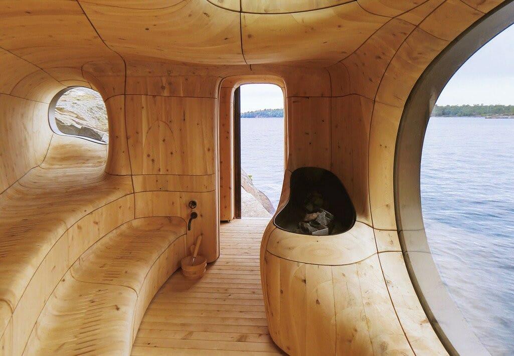 необычная сауна, шикарная сауна в Канаде, частная сауна, остров в Онатрио