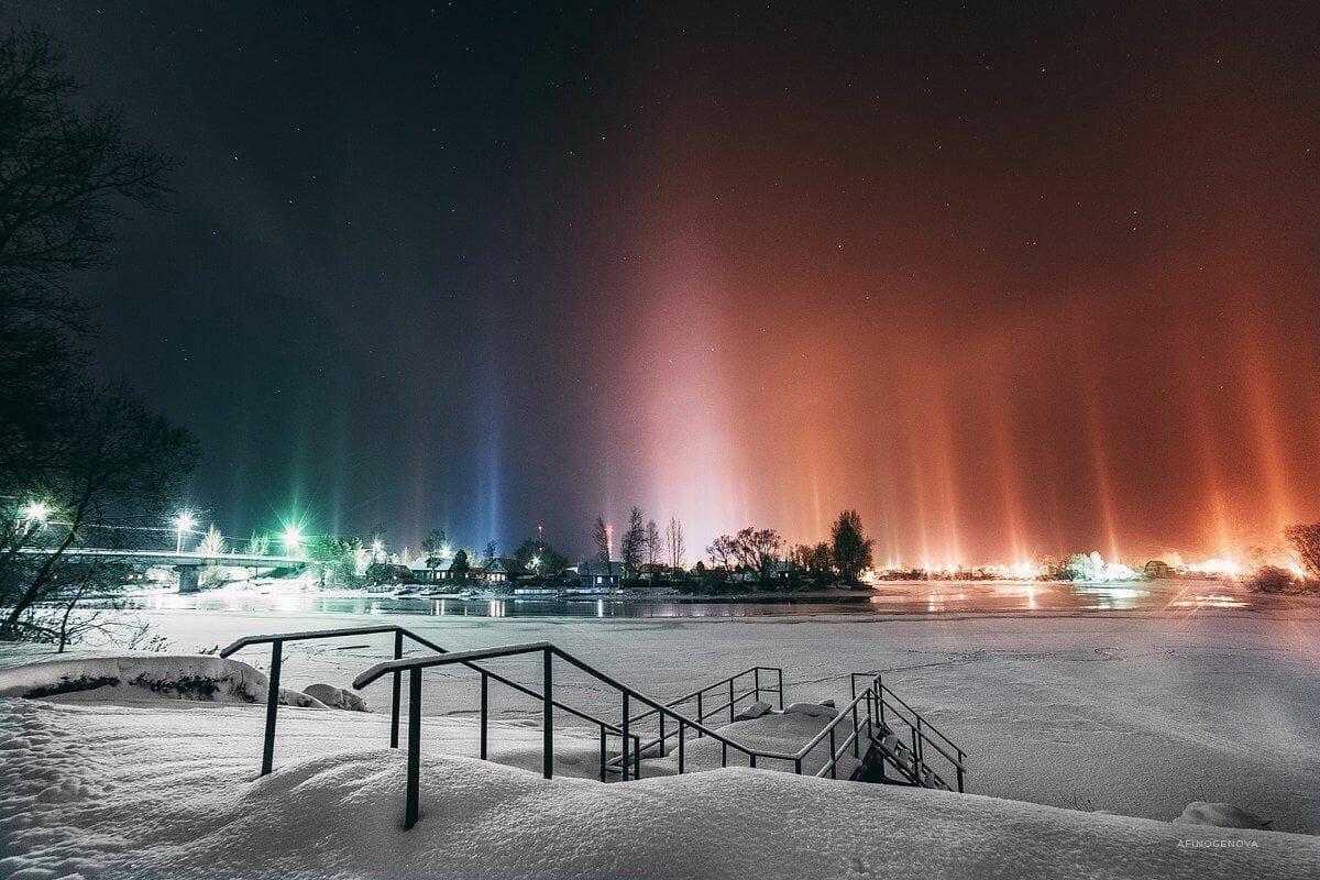 столбы света, природное явление, Канада Онтарио, Элзинга