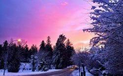 красивый зимний закат, закат Ванкувер, Британская Колумбия