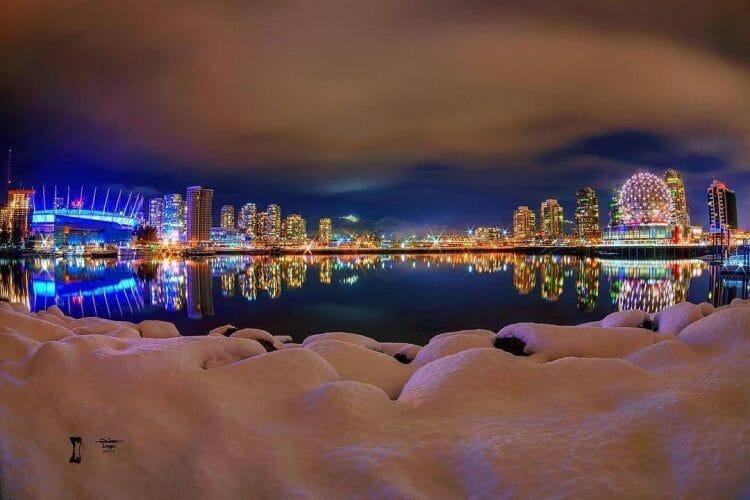 снег Ванкувер, красивая зима в Ванкувере