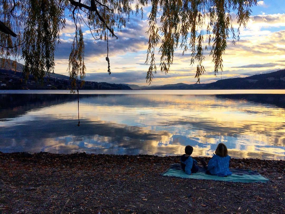 озеро, Канада, Келоуна, озеро Вуд