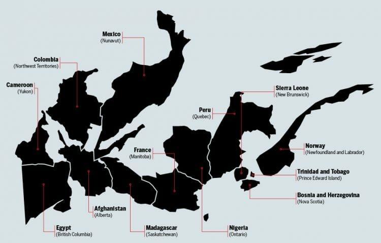 канадские провинции по сравнению с другими странами