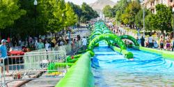 slide the city, водная горка в Ванкувере