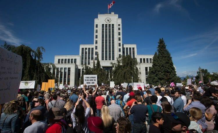 акция протеста в Ванкувере (август 2017)