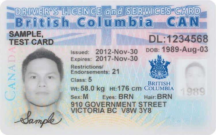 водительские права в британской колумбии