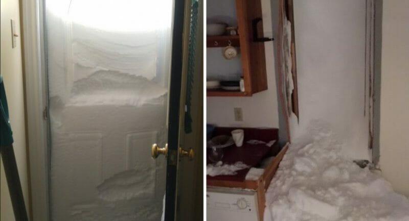 снег дверь