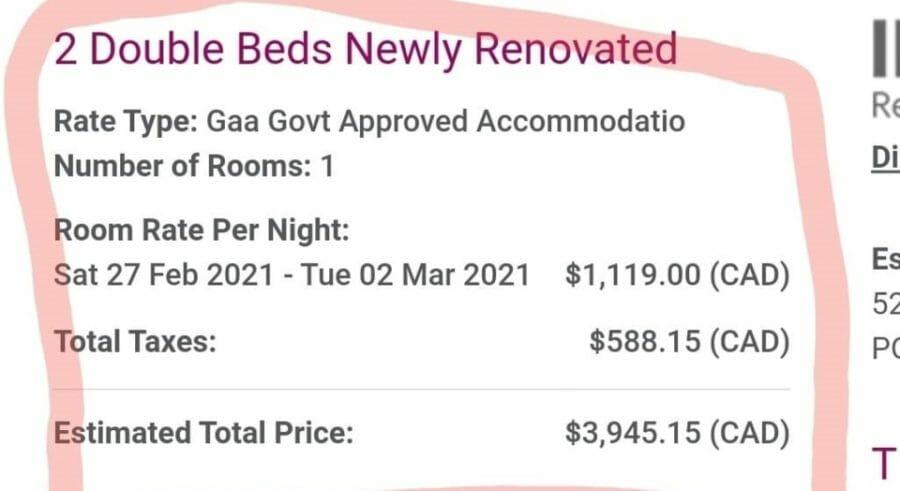 счет за карантин в отеле