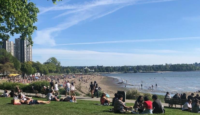 толпа ванкувер пляж